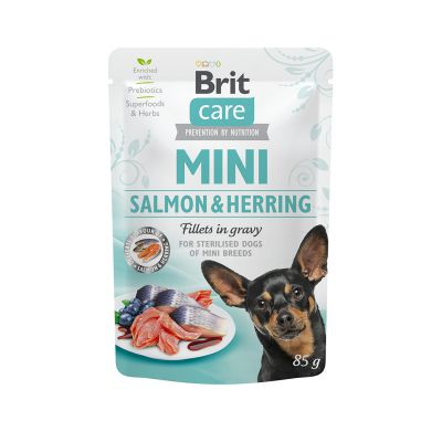 Brit Care Mini Sterilised Łosoś i Śledź w sosie 85g